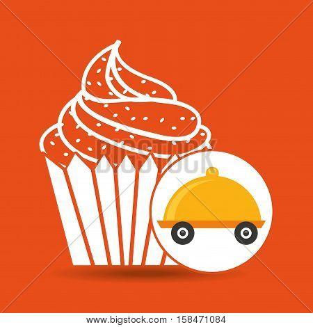 fast delivery food cup cake dessert vector illustration eps 10