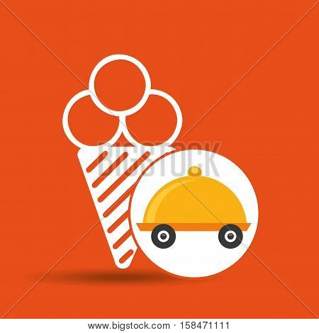 fast delivery food ice cream icon vector illustration eps 10