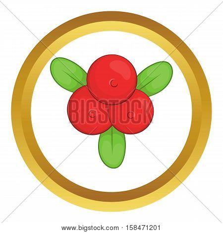 Cowberry vector icon in golden circle, cartoon style isolated on white background