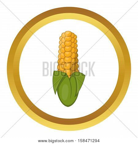 Ear of corn vector icon in golden circle, cartoon style isolated on white background