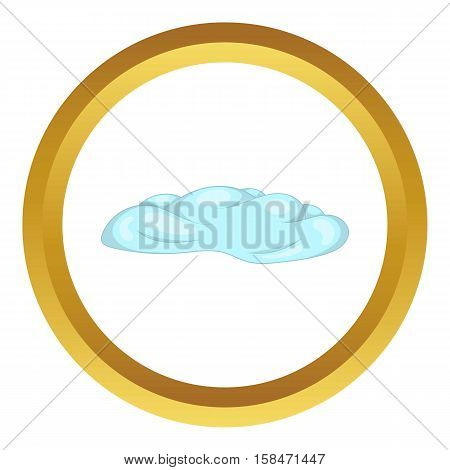 Cloud vector icon in golden circle, cartoon style isolated on white background