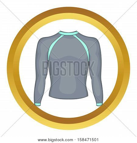 Pullover vector icon in golden circle, cartoon style isolated on white background