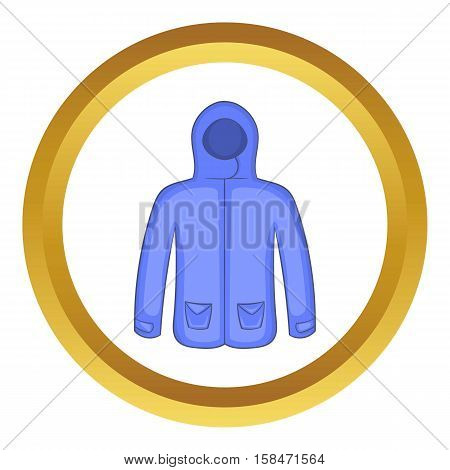 Hoodie sweater vector icon in golden circle, cartoon style isolated on white background