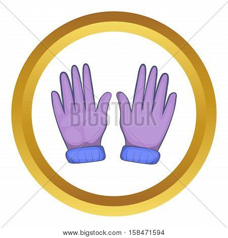 Winter gloves vector icon in golden circle, cartoon style isolated on white background