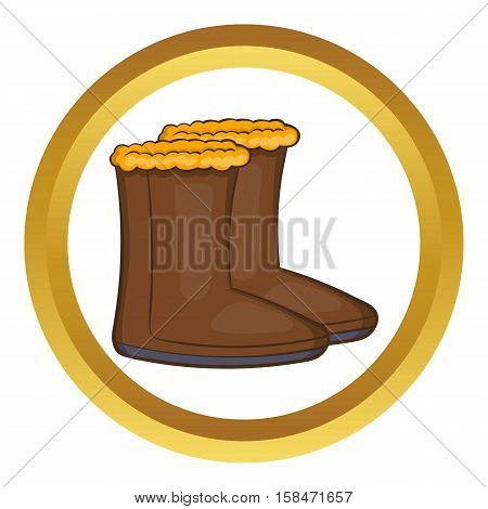 Winter shoes vector icon in golden circle, cartoon style isolated on white background
