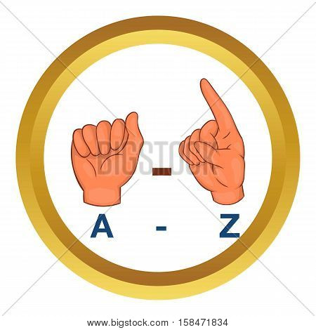 Language hand sign vector icon in golden circle, cartoon style isolated on white background