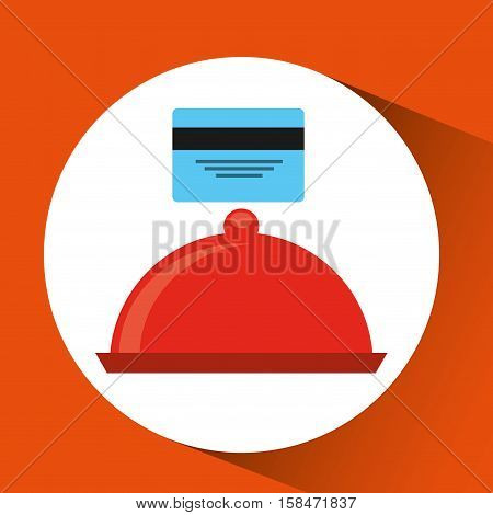 payment credit card delivery food platter tray vector illustration eps 10