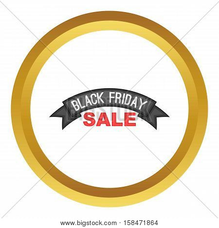 Black friday ribbon vector icon in golden circle, cartoon style isolated on white background