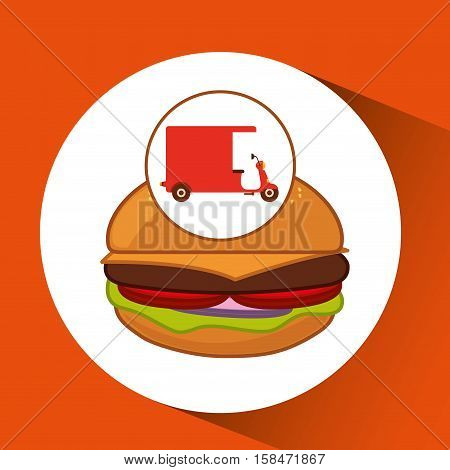 delivery motorcycle fast food burger vector illustration eps 10