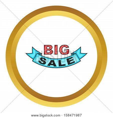 Big sale design vector icon in golden circle, cartoon style isolated on white background