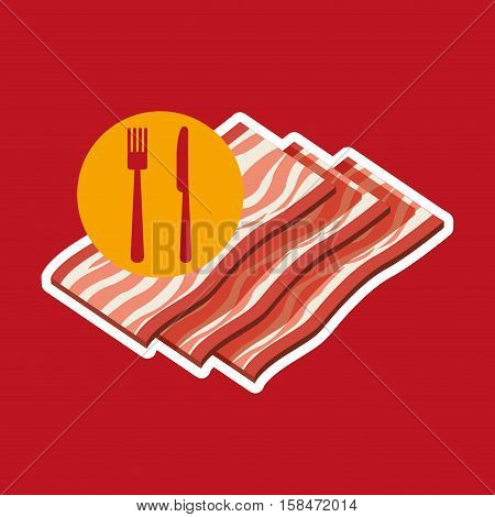 grill fast food concept grilled bacon vector illustration eps 10