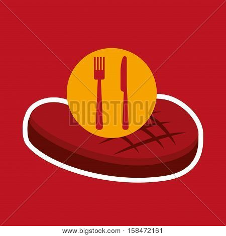 grill fast food concept beef steak vector illustration eps 10