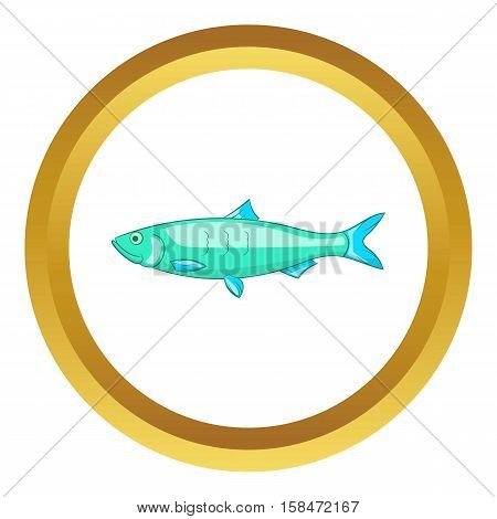 Baltic herring vector icon in golden circle, cartoon style isolated on white background