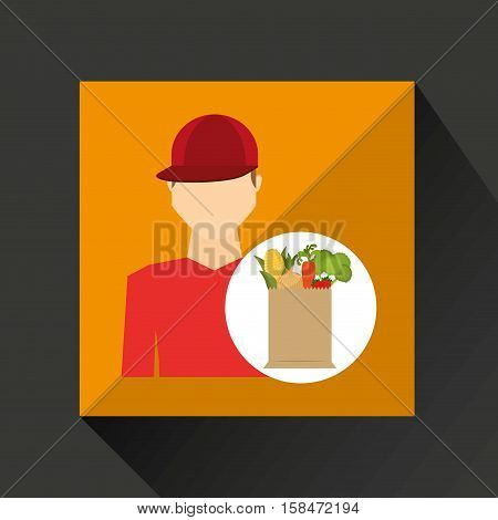 cartoon man red cap with shop bag healthy food vector illustration eps 10