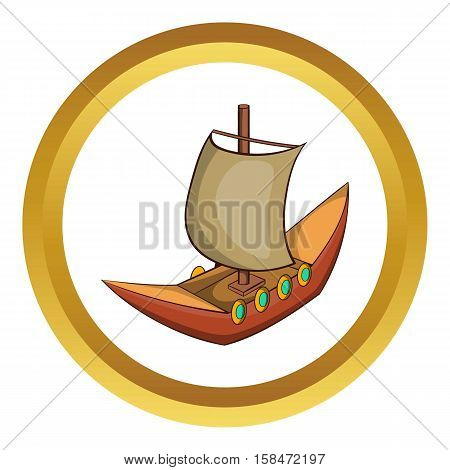 Viking ship vector icon in golden circle, cartoon style isolated on white background