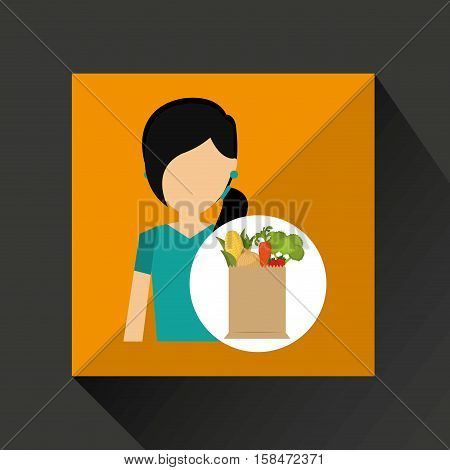 cartoon girl  hair grocery bag vegetables vector illustration eps 10