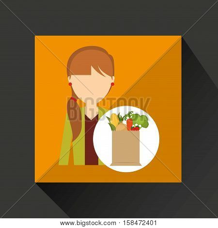 cartoon girl tail hair grocery bag vegetables vector illustration eps 10