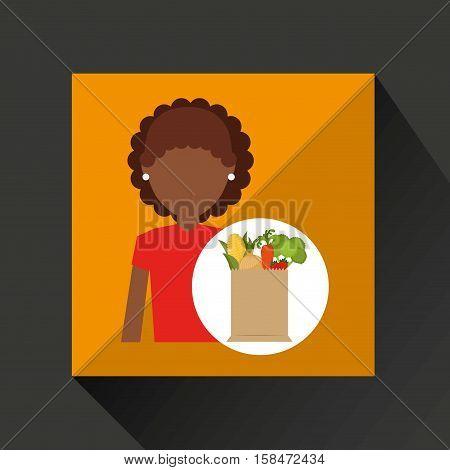 cartoon girl afroamerican grocery bag vegetables vector illustration eps 10