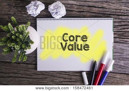Core values. / Notes about core valuesconcept