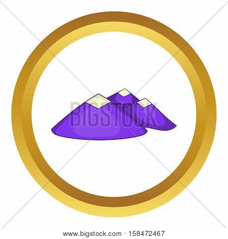 Mountain landscape vector icon in golden circle, cartoon style isolated on white background