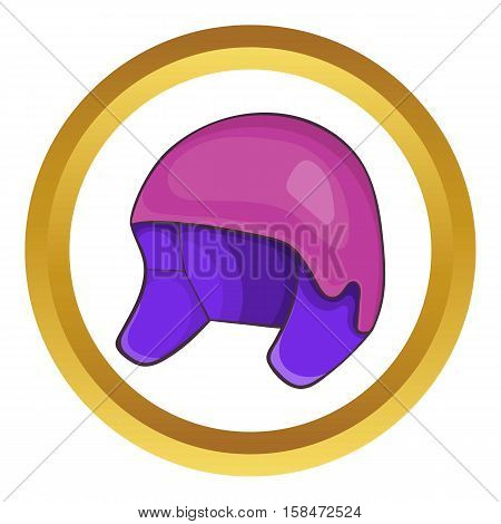 Helmet for snowboarding vector icon in golden circle, cartoon style isolated on white background