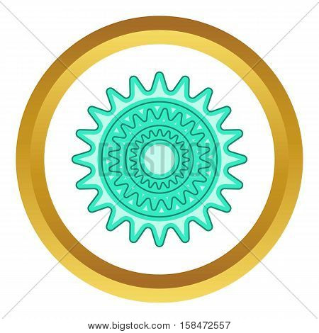 Bicycle sprocket vector icon in golden circle, cartoon style isolated on white background