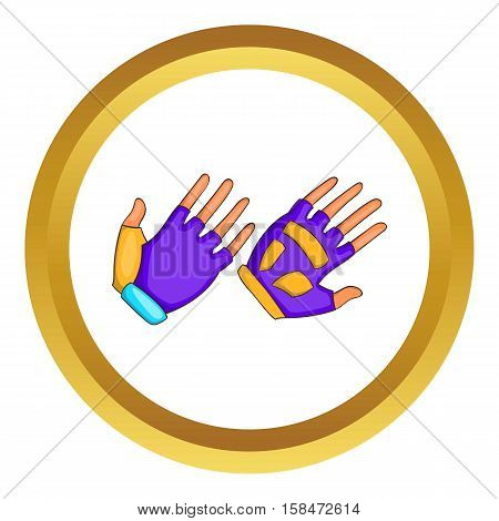 Bike gloves vector icon in golden circle, cartoon style isolated on white background