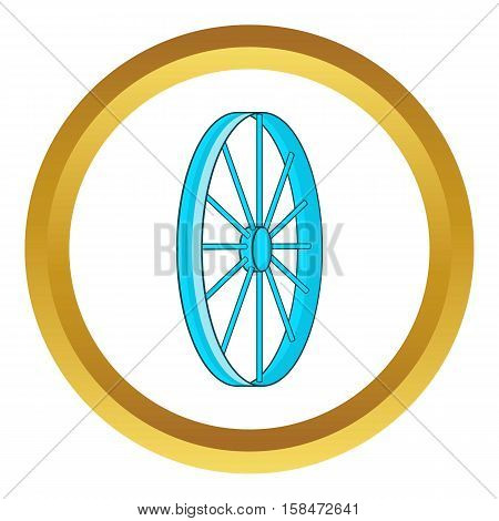 Bicycle wheel symbol vector icon in golden circle, cartoon style isolated on white background