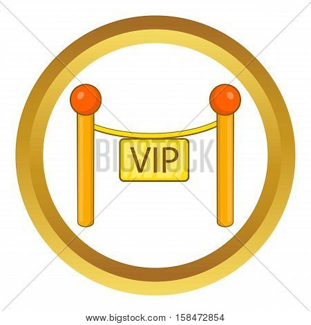 Decorative poles with tape for VIP vector icon in golden circle, cartoon style isolated on white background