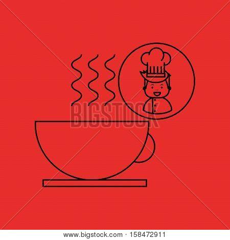 cartoon chef gourmet hot cup coffee vector illustration eps 10