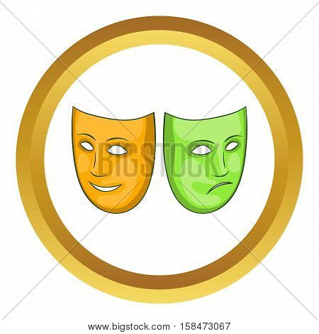 Happy and sad mask vector icon in golden circle, cartoon style isolated on white background