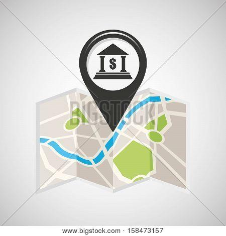 bank building map pin pointer design vector illustration eps 10