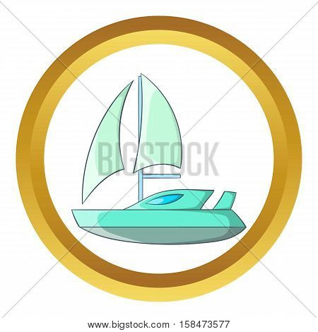 Speed boat with sail vector icon in golden circle, cartoon style isolated on white background