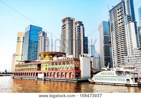 Shanghai China the Bund and the Huangpu River.