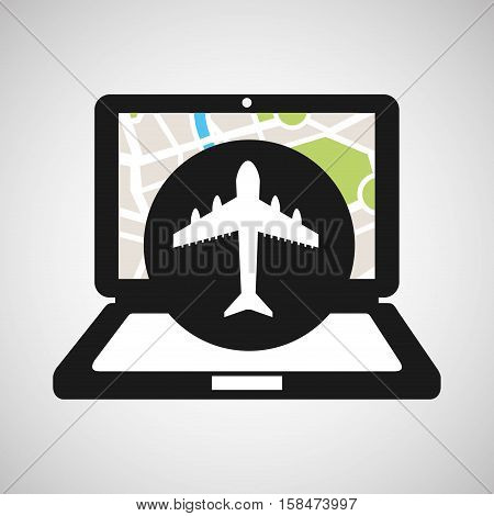 airport laptop map gps vector illustration eps 10