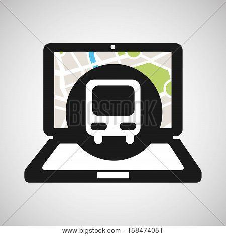 train laptop map gps vector illustration eps 10
