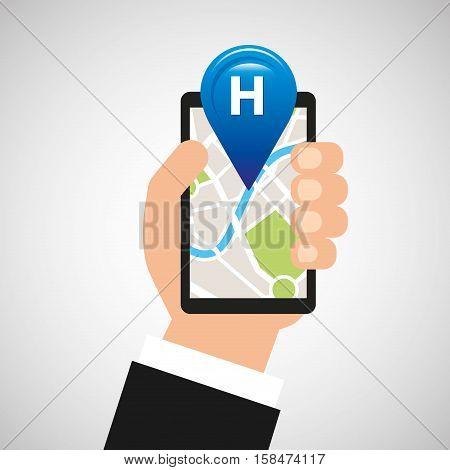 hand holds phone navigation app hotel vector illustration eps 10