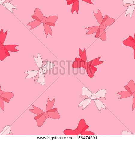Vector stock illustration seamless pattern of pink bow
