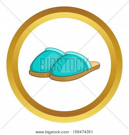 Home slippers vector icon in golden circle, cartoon style isolated on white background