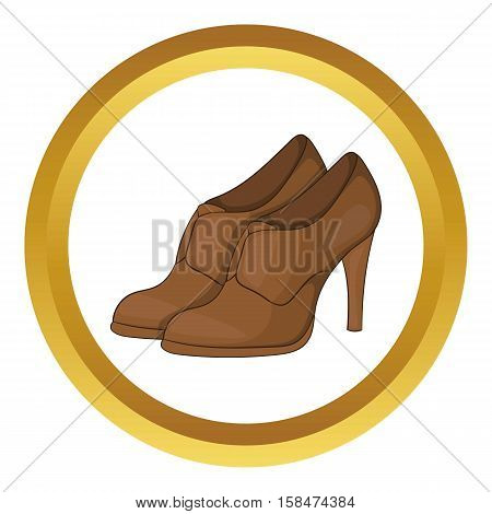 Womens shoes on platform vector icon in golden circle, cartoon style isolated on white background