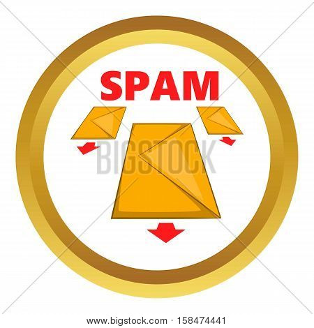 Spam envelopes vector icon in golden circle, cartoon style isolated on white background