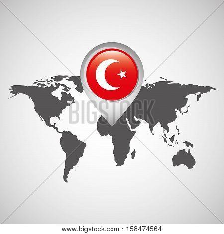 world map with pointer flag turkey vector illustration eps 10