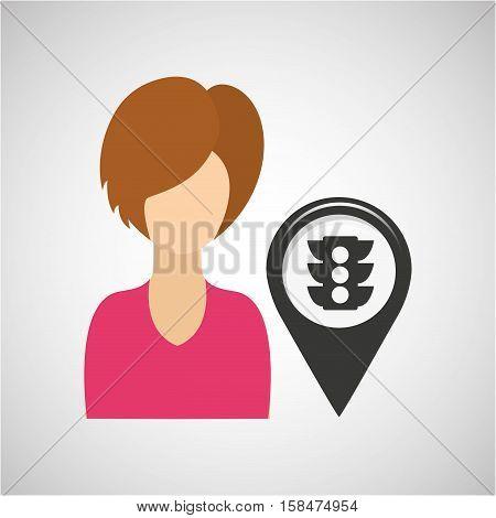 light traffic pointer map girl design icon vector illustration