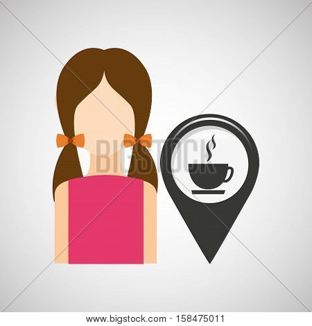 coffee shop pointer map girl design icon vector illustration