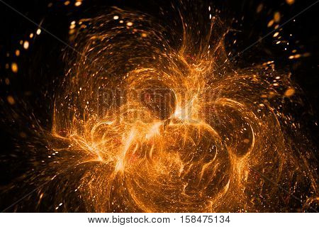 Supernova Explosion. Abstract Colorful Orange Sparks On Black Background. Fantasy Fractal Texture Fo