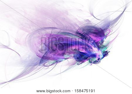 Color Smoke.abstract Blue And Purple Shapes On White Background. Fractal Art. 3D Rendering.