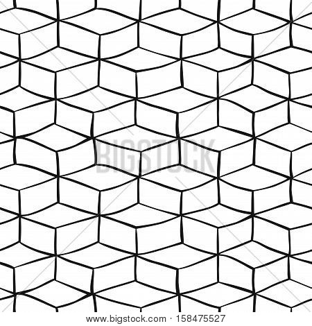 Vector monochrome seamless pattern with hand drawn cubes