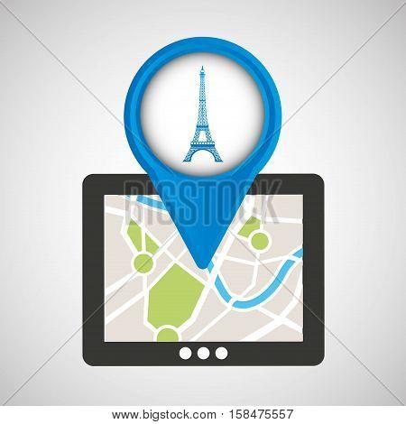 mobile device paris gps map vector illustration eps 10