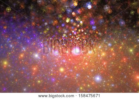 Supernova Explosion. Abstract Colorful Purple, Orange And Red Drops On Dark Background. Fantasy Frac