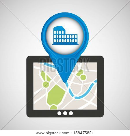mobile device rome gps map vector illustration eps 10